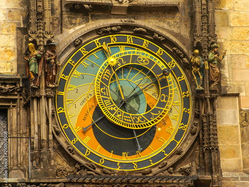 Foto op Canvas Praag The famous Astronomical Clock at the southern side of the Old Town Hall Tower in Prague, Czech Republic