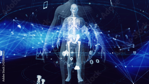 Fototapeta  Human body and communication network concept.