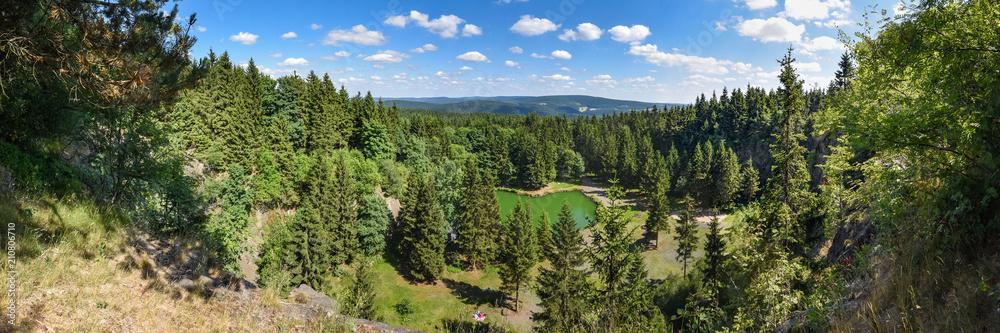 Fototapety, obrazy: Panorama Bergsee Ebertswiese / Thüringer Wald