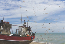 A Fishing Boat On The Coast In Hastings, UK