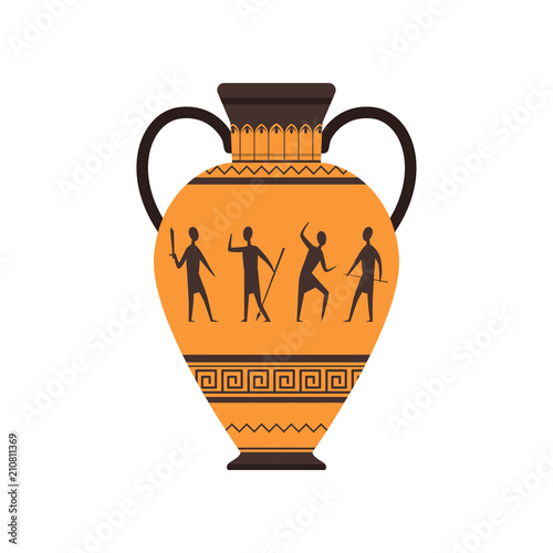Photo Ancient vase or amphora with traditional Roman ornament vector Illustration on a
