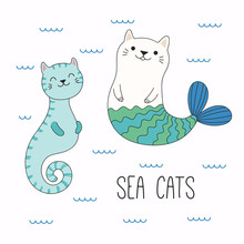 Hand Drawn Vector Illustration Of A Kawaii Funny Cat Seahorse, Mermaid, Swimming In The Sea. Isolated Objects On White Background. Line Drawing. Design Concept For Children Print.