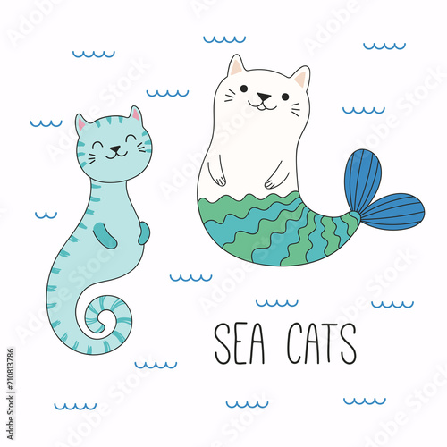 Recess Fitting Illustrations Hand drawn vector illustration of a kawaii funny cat seahorse, mermaid, swimming in the sea. Isolated objects on white background. Line drawing. Design concept for children print.