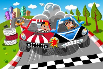 Natjecateljski automobili utrkuju se u završnoj liniji vozača