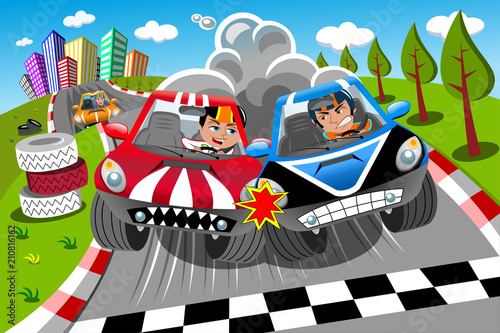 Staande foto Cartoon cars Competition Cars Race Finish Line Drivers