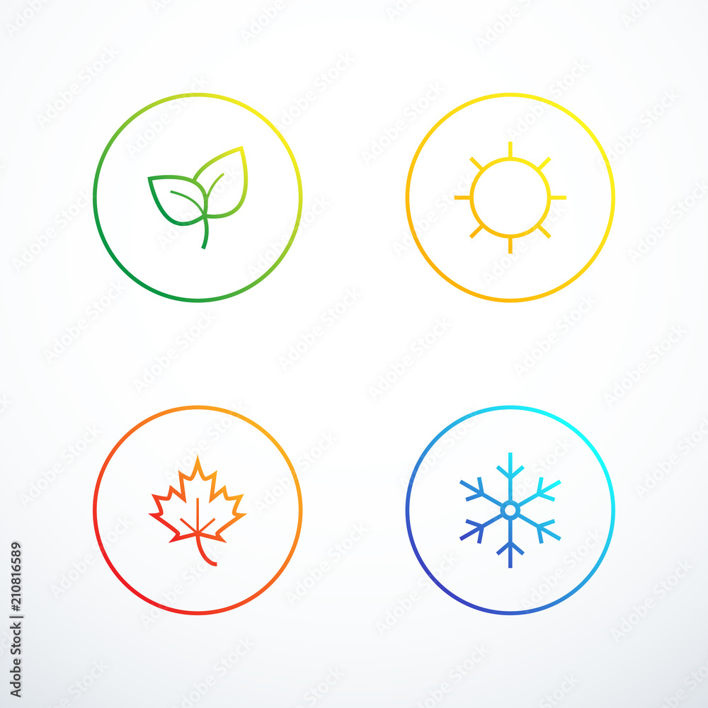 Fototapeta Set of season icons. Vector illustration