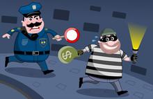 Policeman Chasing Bank Robber At Night