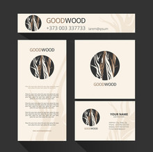 Template  For The Brand Moon Wood Company , Wood Factory, Wood Carvers, Wood Floor, Shop, Bar. Element For Design Business Card, Banner, Pattern, Brochure Template.