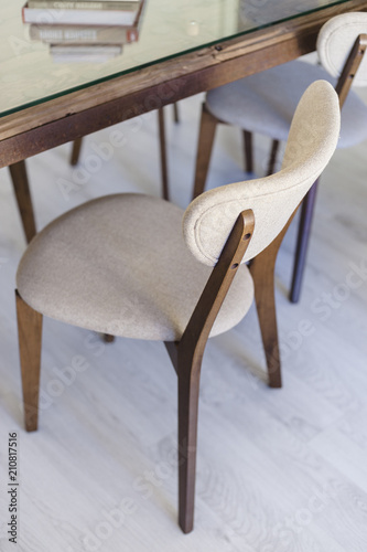 Close up of vintage chairs in modern dinnig room