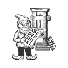 Gnome Typographer Engraving Ve...