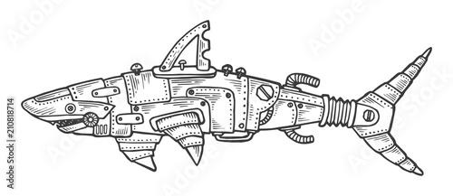 Fototapeta Mechanical shark animal engraving vector