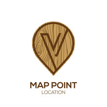 Letter V Logo Map Point Locati...