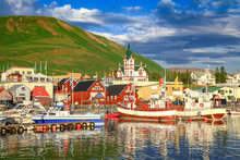 Town Of Husavik At Sunset, Iceland
