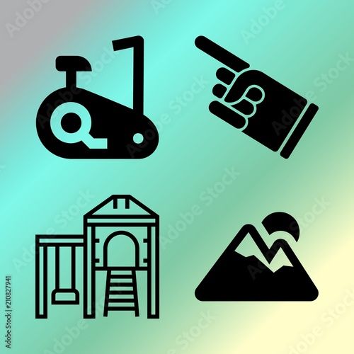 Foto op Canvas Groene koraal Vector icon set about fitness and sport with 4 icons related to professional, healthy, morning, kindergarten and young
