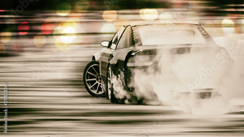 Leinwand Poster Car drifting, Blurred of image diffusion race drift car with lots of smoke from