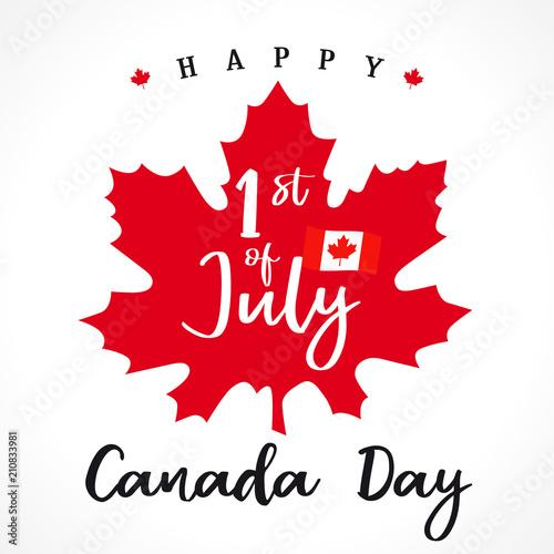 1 st july, Happy Canada day lettering on maple leaf Fototapeta