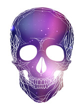 Human Skull With Cosmic Background. Cosmos And Nebulae.  Vector Element For Your Design