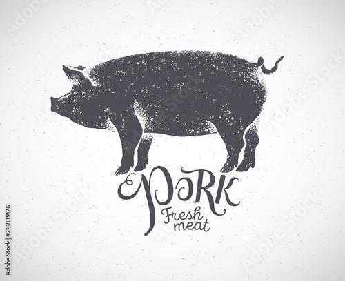 Obraz na plátne Pig in silhouette style, pork label drawn by hand.