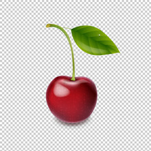 Red Cherry Isolated White Background
