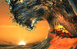 canvas print picture Beautiful ocean wave, sea water rip curl