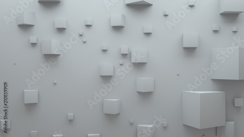 3d render abstract background. Simple plane with geometry shapes that bounds from surface. Light gamma and shadows from top light. . - 210839909