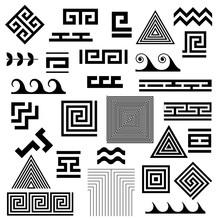 Greek Key. Typical Egyptian, Assyrian And Greek Motives Vector Symbols.