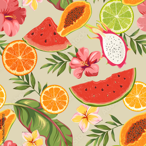 Cotton fabric Seamless pattern with fruits and exotic flowers