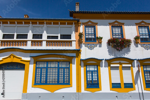 Fotografie, Obraz  Facade of house in Costa Nova, Aveiro, Portugal.
