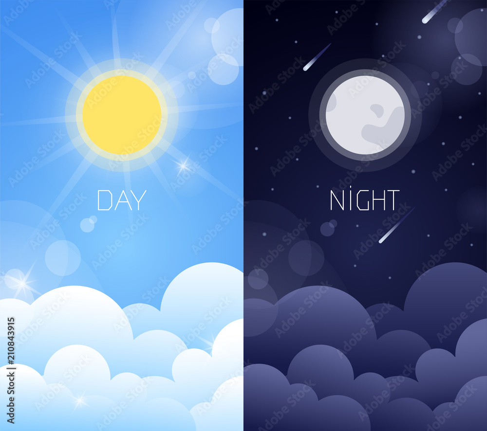 Fototapeta Day and night sky illustration