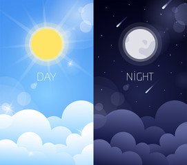 Day and night sky illustration