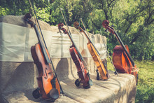 Music And Nature Concept. String Instruments, One Cello And Three Violins On The Ceremonial Chairs In Nature. Close Up.