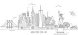 Fototapeta Nowy York - New York skyline line art style