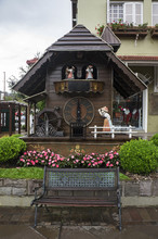 Wooden Cuckoo Clock Bench  City Gramado Brazil Architecture