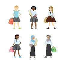 Set Of Schoolgirls Of Differen...