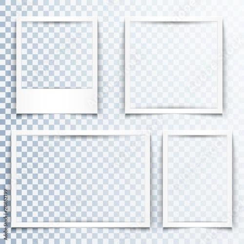 Fototapeta Blank white frames with realistic drop shadow effect. Borders with 3d shadows. Set of four empty photo frame templates obraz na płótnie