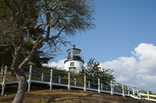 Walkway To Owls Head Lighthouse In Maine With F,resnel Lens