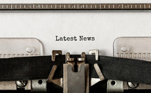Text Latest News Typed On Retro Typewriter