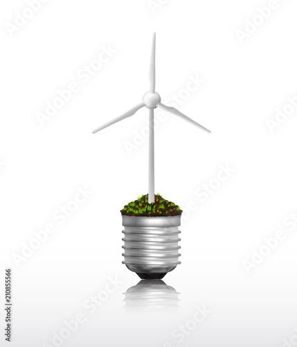 Light bulb with wind turbine vector Canvas Print