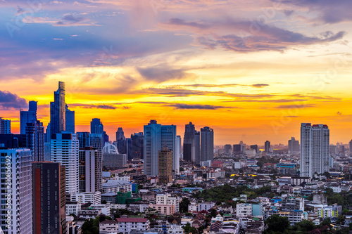 amazing twilight skyline and cityscape building