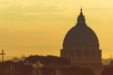 St Peter's Basilica Dome At Sunrise In Rome, Italy