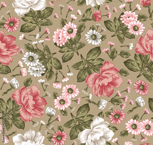 Seamless pattern. Beautiful pink blooming realistic isolated flowers. Vintage background. Chamomile peony wildflowers. Wallpaper. Drawing engraving. Vector victorian Illustration.