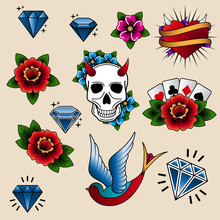 Vector Collection Of Tattoo Elements In Old School Style