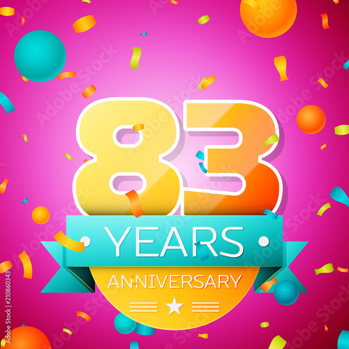 Poster  Realistic Eighty three Years Anniversary Celebration design banner