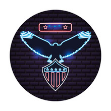 American Eagle And Shield Flag Neon On Wall