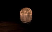 Full Moon Rising Over Calm Sea...