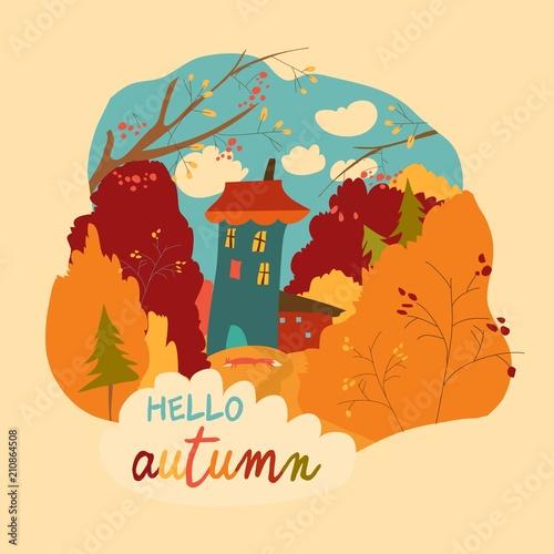 Mały dom w jesiennym lesie