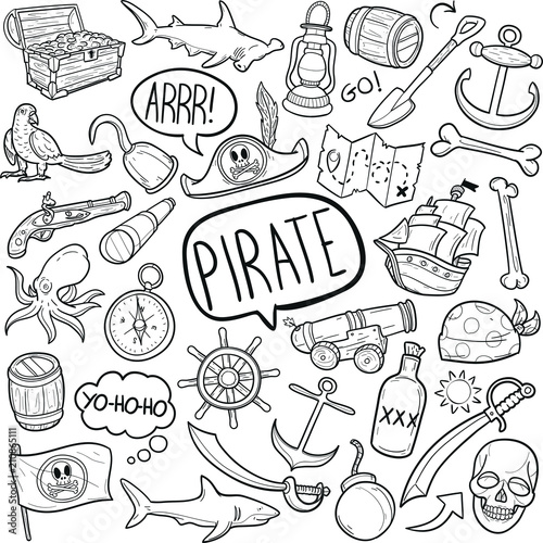 Pirate Adventure Costume  Doodle Icon Hand Draw Line Art Wallpaper Mural