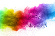 canvas print picture - Multicolor powder explosion on white background. Colored cloud. Colorful dust explode. Paint Holi