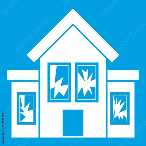 House with broken windows icon white isolated on blue