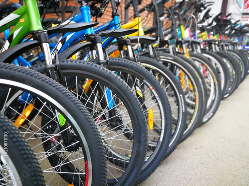 Bicycle shop, rows of new bikes Canvas Print